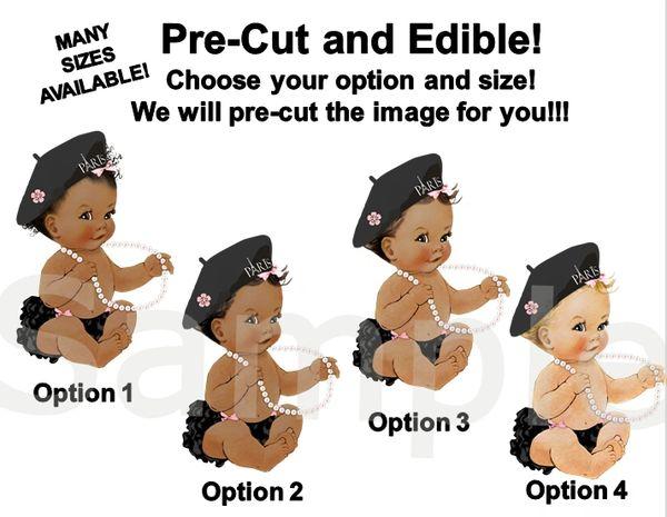 Pre Cut Pink Black Sitting Ruffle Pants Paris Beret Babies of Color EDIBLE Cake Topper Cupcakes, Paris Baby Shower Theme, Baby Paris Beret