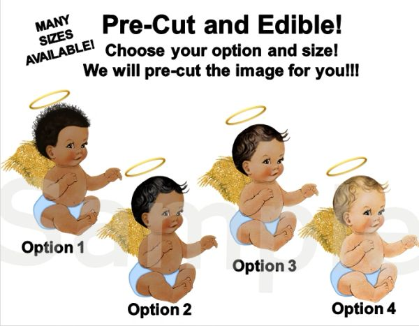 Pre Cut Light Blue Gold Halo Sitting Little Prince Angel with Wings EDIBLE Cake Image Cupcakes, Heaven Sent Baby Shower Cake, Sitting Angel