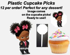 Sassy Boss Baby Girl Plastic Cupcake Picks Dessert Toppers, Baby Shower Cupcake Toppers, Sassy Boss Girl, Pink Bows Black Suit, Cupcakes