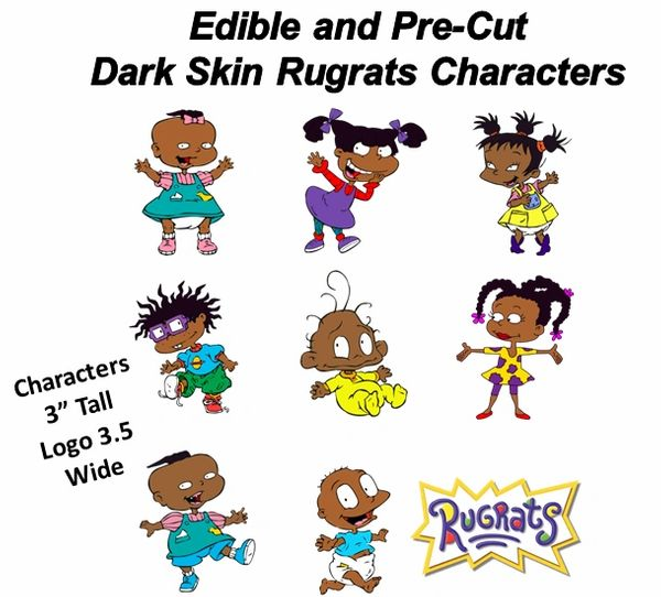 Pre Cut African American Rugrats Edible Cake Cupcake Stickers Decals, Rugrats Cake, Dark Skin Rugrats