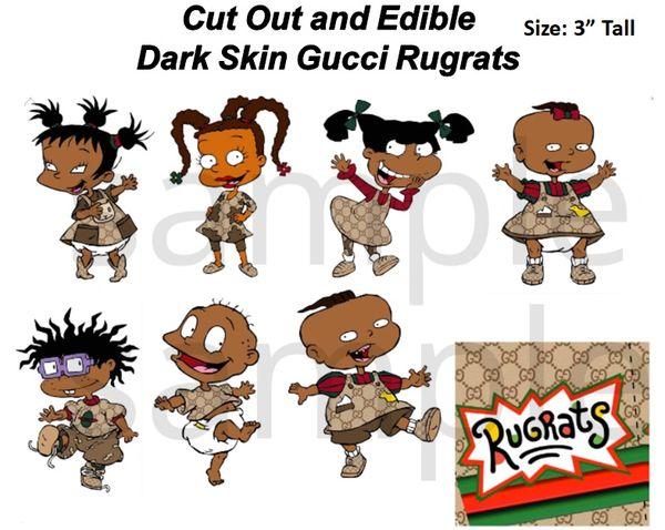 Pre Cut African American Gucci Rugrats Edible Cake Cupcake Stickers Decals, Rugrats Cake, Dark Skin Rugrats Gucci Print