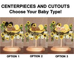 Sunshine Sleeping Baby Girl on Sunflower Woodland Bed Centerpiece Wood Stand OR Cut Outs, Sunflower Baby Shower Theme