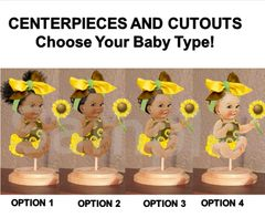Sitting Sunflower Girl Babies of Color Centerpiece with Wood Stand OR Cut Outs, Sunflower Baby Shower Decorations, Yellow Brown Big Head Bow