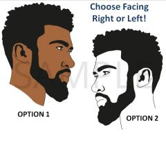Afro Hair Black Man with Beard EDIBLE Cake Topper Image or Cupcakes, Afro Man Cake, African American Man Beard Silhouette or Color, Edible