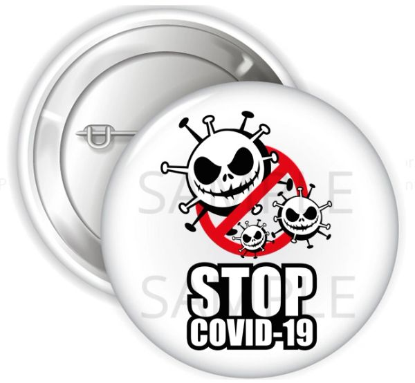 "Stop Covid 19 Virus Pinback Buttons, 2.25"" or 3"" Party Buttons, Healthcare Awareness Button, Stop Covid Pins"