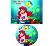 Ariel Little Mermaid Edible Image for Cake or Cupcakes, Ariel Cake, Ariel Cupcakes, Ariel Party Supplies