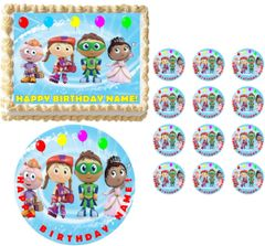 SUPER WHY Balloons and Characters Edible Cake Topper Image Frosting Sheet