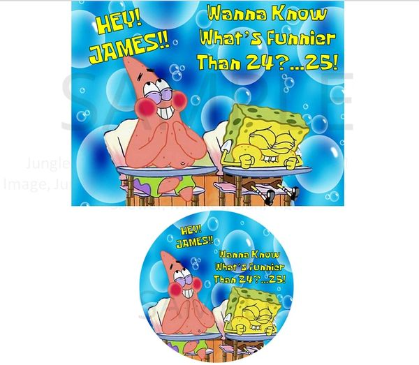 Spongebob Squarepants EDIBLE Cake Topper or Cupcakes, What's Funnier Than 24 Spongebob Edible Image