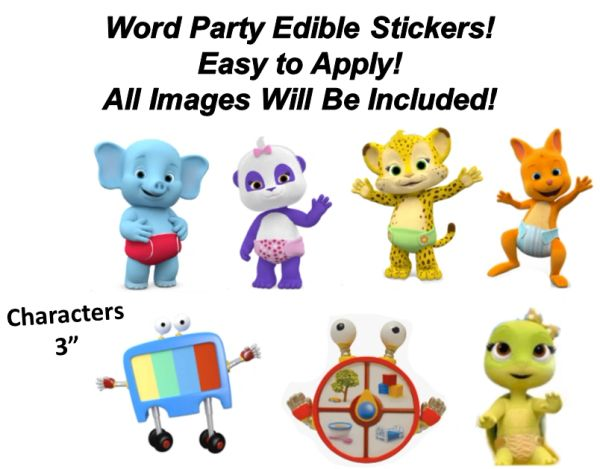Pre Cut Word Party Characters Edible Cake Cupcake Stickers Decals, Word Party Cupcake Decals