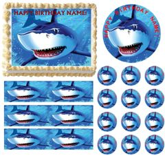 SHARK PARTY Edible Cake Topper Image Frosting Sheet Cake Decoration