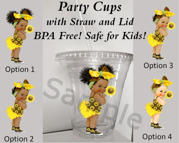 Sunflower Afro Baby Girl Clear Plastic Cup with Straw and Lid, 12oz Cup, Party Cups, Sunflower Theme Party Cups, Baby Shower Cups, BPA Free