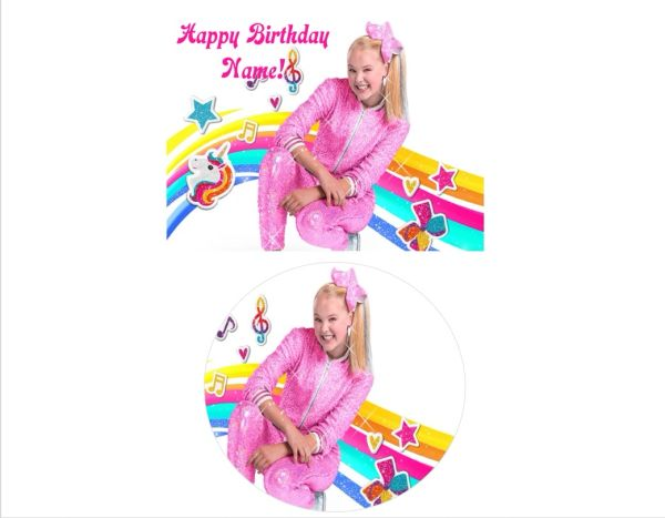 JoJo Siwa Rainbow Music EDIBLE Cake Topper Cupcakes Sugar Sheet Decoration