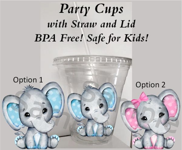 Little Peanut Baby Elephant Clear Plastic Cup with Straw and Lid, 12oz Cups, Baby Shower Cups, First Birthday Cups, Elephant Party Cups