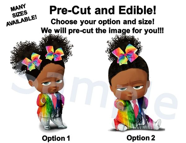 Dark Skin Melted Crayon Rainbow Boss Baby Girl Edible Image for Cake or Cupcakes