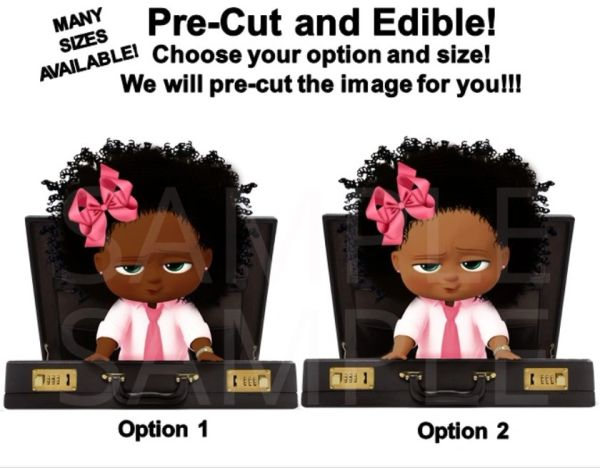 Pink and Black African American Sassy Boss Baby Girl EDIBLE Cake Topper Cupcakes, Boss Girl Briefcase