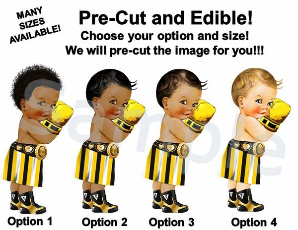 Little Prince Boxer EDIBLE Image for Desserts, Yellow Black White Boxer Boy, Boxing Baby Cake, Baby Shower Boxer Boy, Baby Shower Cake Boxer