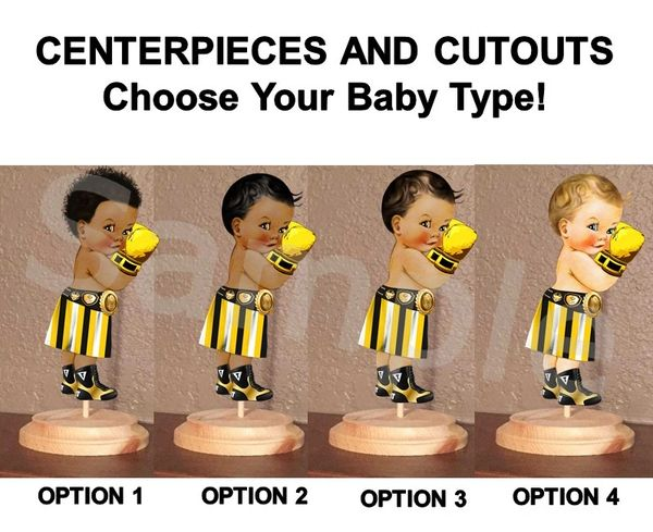 Little Prince Boxer Baby Centerpieces with Stand OR Cut Outs, Boxer Baby Centerpieces, Yellow Black White Boxer Baby, Boxing Centerpieces