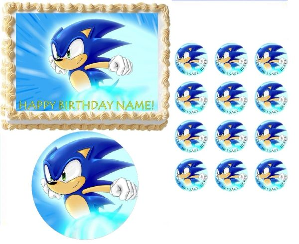 Sonic The Hedgehog Running Edible Cake Topper Image Frosting Sheet Cake Decoration Edible Party Images