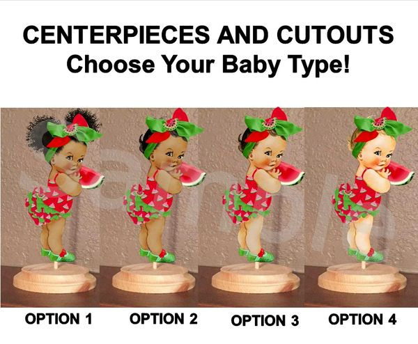 Watermelon Theme Babies of Color Centerpieces with Stand OR Cut Outs, Red Green Big Head Bow, Watermelon Baby Shower, Sweet Little Girl