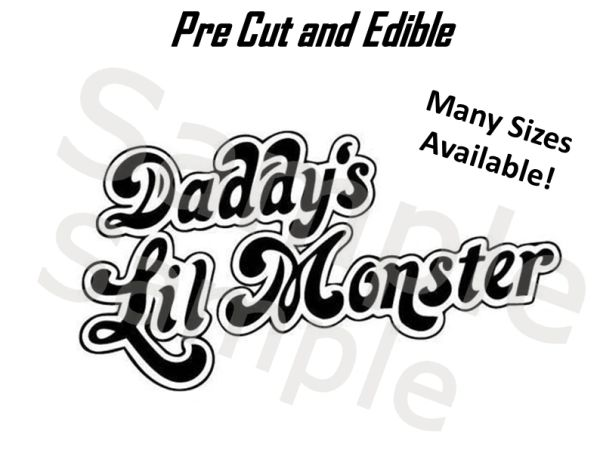 Daddy's Little Monster Harley Quinn EDIBLE Image Decal for Desserts, Daddy's Monster Cake, Harley Quinn Cake