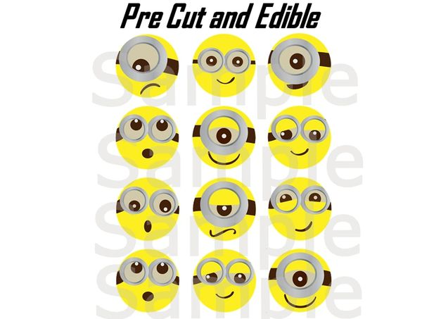 Pre Cut Minion Faces EDIBLE Images for Desserts, Minion Cupcakes, Minion Birthday, Minion Cake