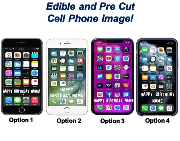 PRE CUT Cell Phone Iphone Theme EDIBLE Cake Topper Image Sheet Cupcakes Phone