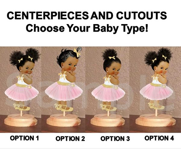 Blush Pink Gold Princess Tulle Party Dress Baby Girl Centerpieces or Cut Outs, Baby Shower Centerpieces