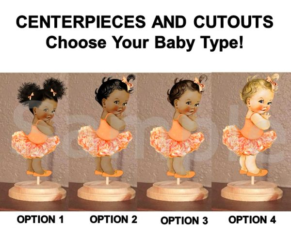 Princess Ballerina Tutu Babies of Color Centerpiece with Stand OR Cut Outs, Tangerine Orange Tutu, Baby Shower Centerpieces