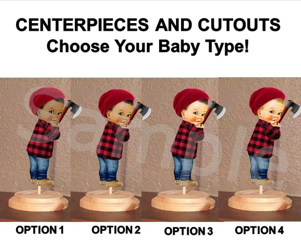 Lumberjack Baby Boy Centerpiece with Stand or Cutouts, Lumberjack Baby Centerpieces, Baby Shower Centerpieces
