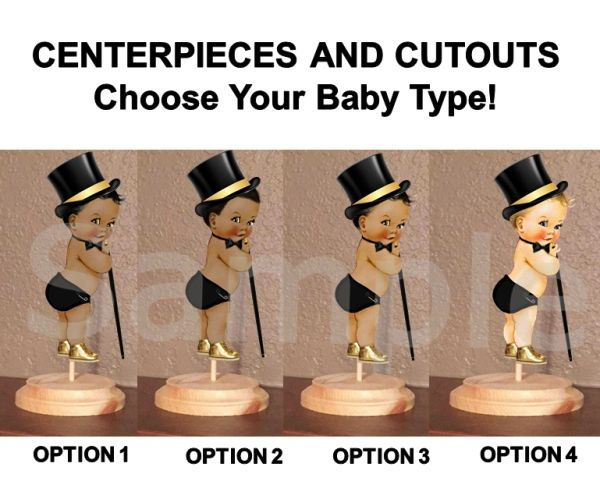 Top Hat Little Man Prince Baby Boy Centerpiece with Stand or Cutouts, Black and Gold Walking Stick, Baby Shower Centerpieces