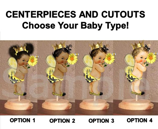 Queen Bee Baby Girl Centerpieces with Stand OR Cut Outs, Bee Baby Shower Centerpieces