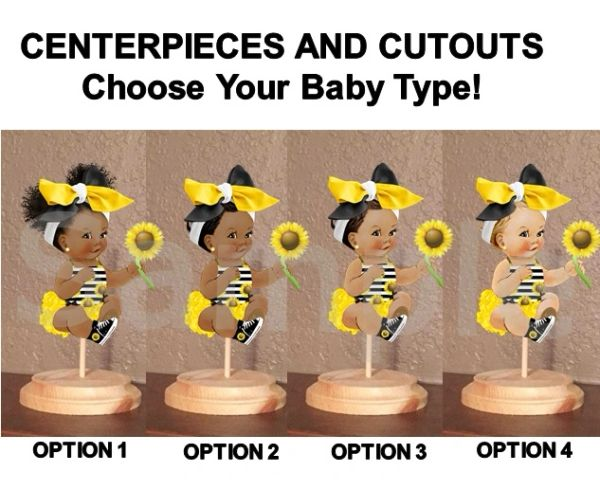 Sitting Sunflower Girl Babies of Color Centerpiece with Wood Stand OR Cut Outs, Sunflower Baby Shower Decorations, Yellow Black Big Head Bow