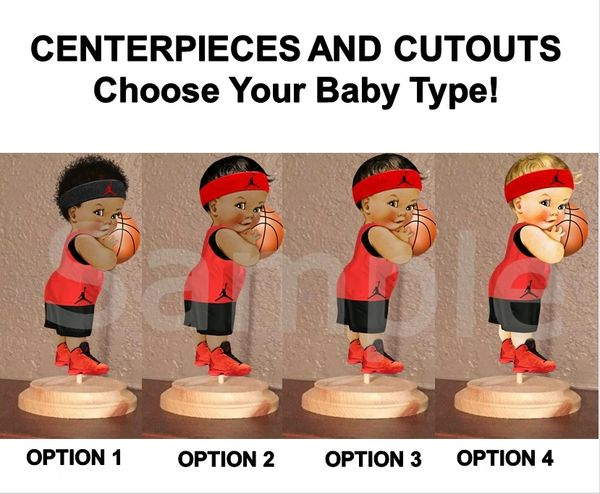Little Prince Baby Basketball Boy Centerpiece with Wood Stand OR Card Stock Cut Out, Red and Black Basketball Baby, Baby Shower Centerpieces