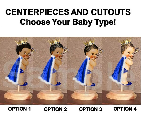 Royal Little Prince Baby Boy Centerpiece with Wood Stand OR Card Stock Cut Out, Royal Blue Fur Cape, Baby Shower Centerpieces
