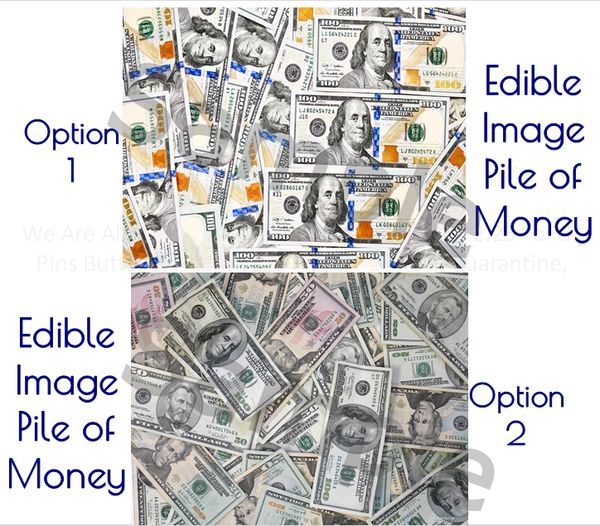 Pile of Money Edible Image for Cake and Cupcakes, Edible Money Cake Image