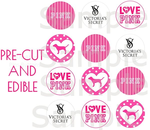 Victoria's Secret Pink EDIBLE Cupcake Topper Images, Victoria's Secret Cupcakes, Victoria's Secret Pre Cut