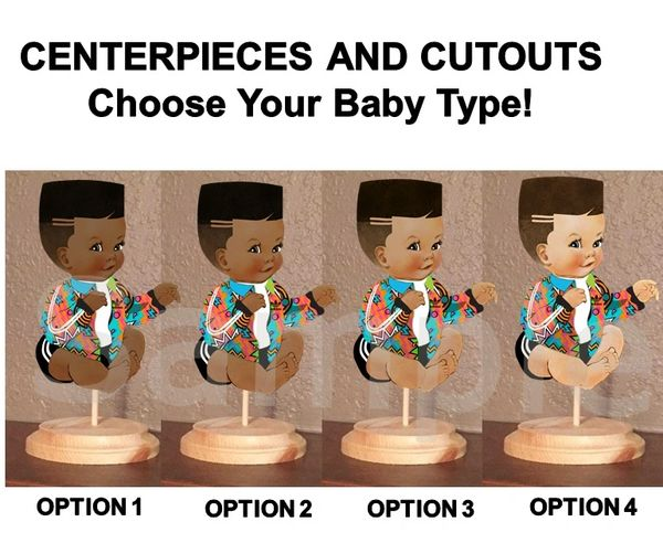 Multi Color Pattern Jacket Baby Boy Centerpiece with Wood Stand OR Card Stock Cut Out, Hip Hop Baby Centerpieces