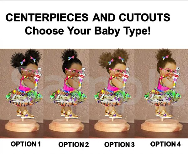 Hip Hop Graffiti Tutu Skirt Baby Girl Babies of Color Centerpiece with Wood Stand OR Cut Outs, Hip Hop Girl Centerpieces