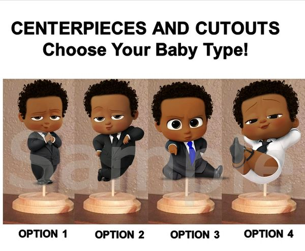 Curly Hair African American Boss Baby Boy Centerpieces with Stand OR Cut Outs, Boss Baby Centerpieces, Baby Shower Boss Baby