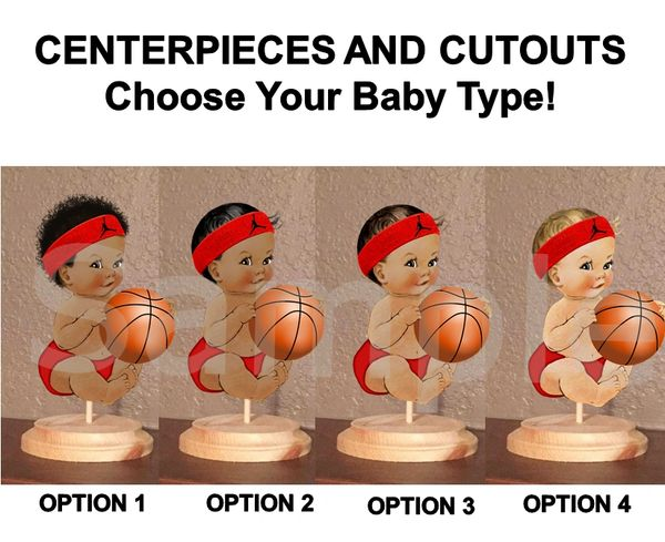 Little Prince Basketball Player Centerpiece with Stand OR Cutouts, Baby Shower Centerpieces, Red Black Diaper Sweatband, Sitting Baby Ball