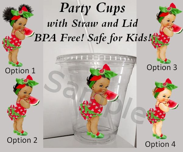 Watermelon Theme Baby Girl Clear Plastic Cup with Straw and Lid, 12oz Cup, Party Cups, Watermelon Baby Theme Party Cups, Baby Shower Cups, BPA Free