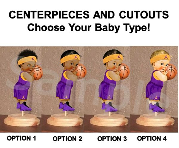 Little Prince Baby Basketball Boy Centerpiece with Wood Stand OR Card Stock Cut Out, Purple and Gold Basketball Baby, Baby Shower Centerpieces