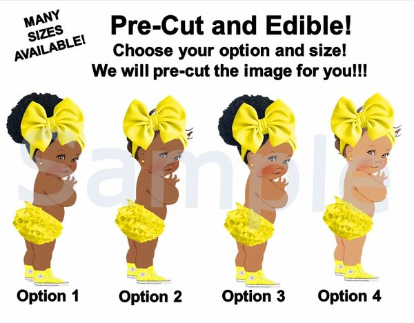 African American Baby Girl EDIBLE Image for Cake or Cupcakes, Canary Yellow Sneakers Big Bow, Baby Shower Cake