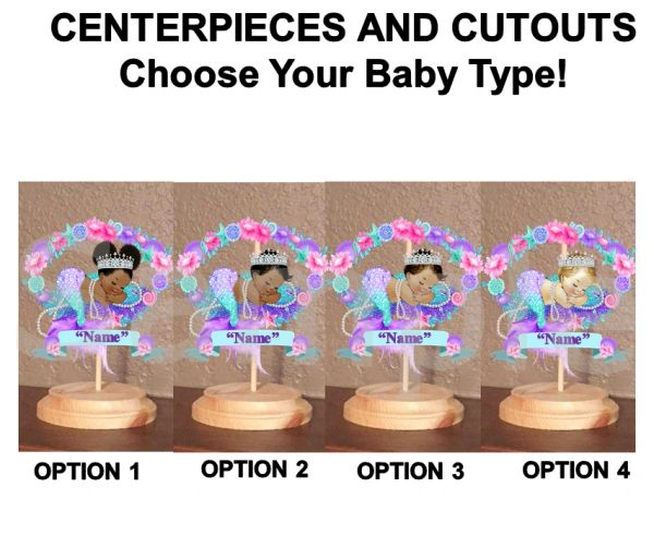 Sleeping Mermaid Babies of Color Centerpiece with Stand OR Cut Outs, Baby Shower Mermaid Centerpieces, Glitter Diamonds Shells Name Banner