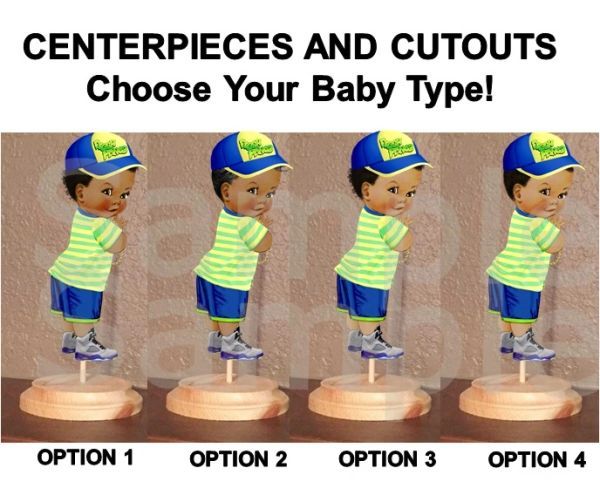 Little Fresh Prince Baby Boy Centerpieces OR Cut Outs, Baby Shower Centerpieces, Blue Yellow Fresh Prince Baby
