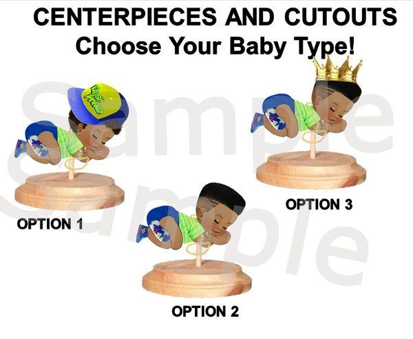 Sleeping Fresh Prince Baby Boy Centerpiece w/ Stand OR Cut Outs, Fresh Prince Baby Centerpieces, Sleeping Baby Cutouts