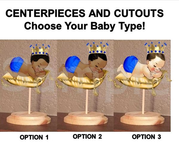Sleeping Little Prince Baby Boy Centerpiece with Stand OR Cut Outs, Royal Blue Gold Pillow, Baby Shower Centerpieces