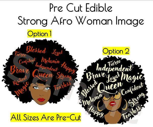Afro African American Black Woman EDIBLE Image for Desserts, Strong Black Woman Cake, Confident Woman Cake, Queen Diva Woman Cake, Fierce
