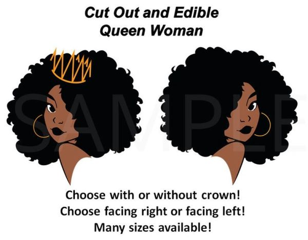 African American Queen Black Diva Woman EDIBLE Cake Topper Image or Cupcakes, Afro Woman, Queen Diva, Black Woman, Black Magic Queen Cake