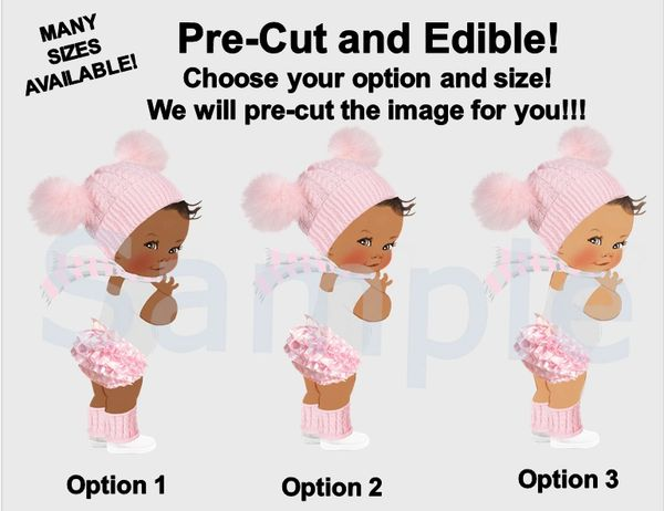 Winter Princess Baby Girl EDIBLE Image for Cake or Cupcakes, Oh Baby It's Cold Outside Theme, Winter Baby Cake, Pink and White Hat Scarf